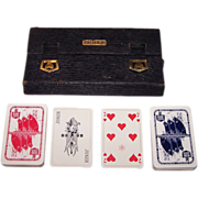 "2 Decks VASS ""Norddeutscher Lloyd Bremen"" Maritime Playing Cards, Hansa-Whist Pattern, Bridge Case w/ Pencil, c.1930"