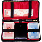 Double Deck Fritz Fischer Nuernberger Spielkartenfabrik Playing Cards, w/ Leather Case,  Dice, Bridge Score Pad, Pencils, c.1962