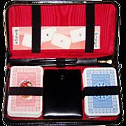 Double Deck Fritz Fischer Nuernberger Spielkartenfabrik Playing Cards, w/ Leather Case,  Dice, Bridge Score Pad, Pencils, c.1962