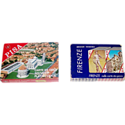 "2 Double Decks Italcards Souvenir Playing Cards, $15/ea.: (i) ""Pisa""; (ii) ""Firenze"" (Seriplast), c.1975"