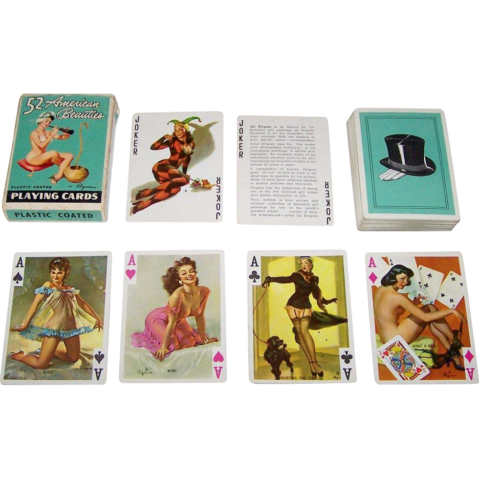 "Brown & Bigelow (Creative Playing Card Co., Inc.) ""52 American Beauties"" Pin-Up Playing Cards, Gil Elvgren Designs, c.1955"