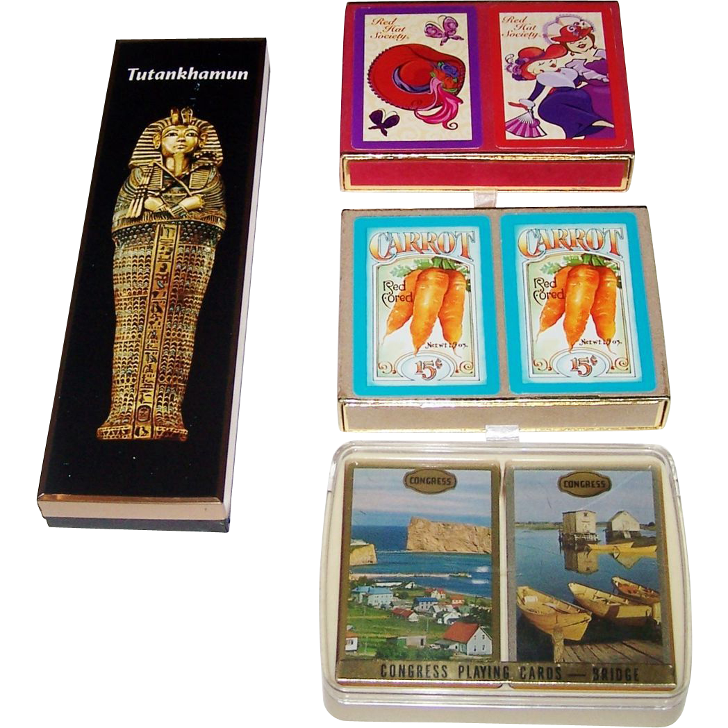 "2 Double Decks Congress Playing Cards, $10/ea.: (i)""Carrots""; and (ii) Coastal Scenic"