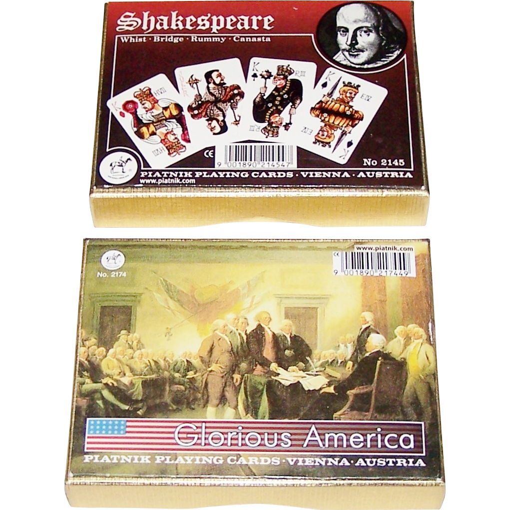 "2 Double Decks Non-Standard Piatnik Playing Cards, $15/ea.: (i) ""Glorious America,"" c. 1994; and (ii) ""Shakespeare,"" Donald Burton Designs, c.1968"