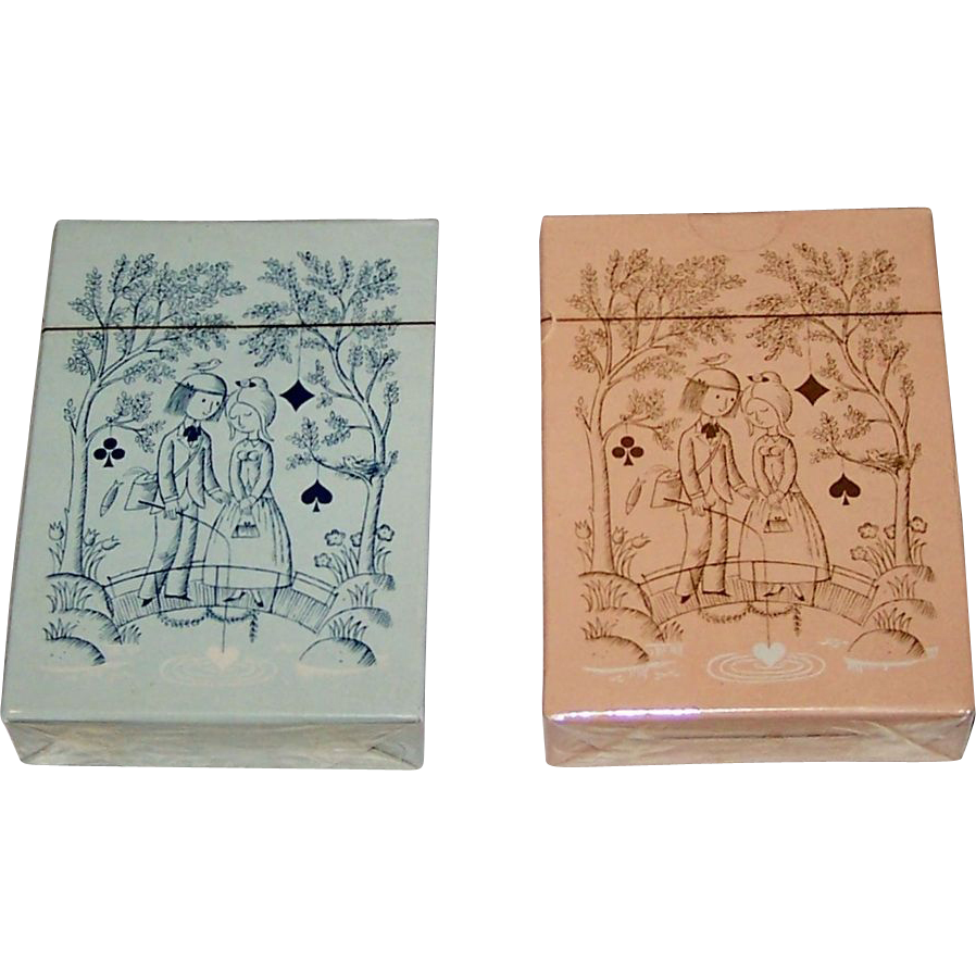 "Twin Decks Grimaud ""Jeu des Amoureux de Peynet"" Playing Cards, Raymond Peynet Designs, 1974"