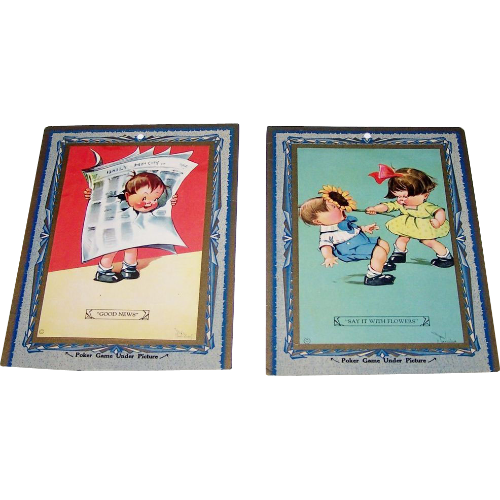 "2 Large ""Poker Game"" Cards, Titled ""Good News"" and ""Say It With Flowers,"" Signed Lithographs, Artist Unknown"