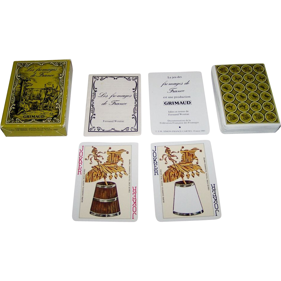 "Grimaud ""Les Fromages de France"" Playing Cards, Fernand Woutaz Conception and Content, c.1981"