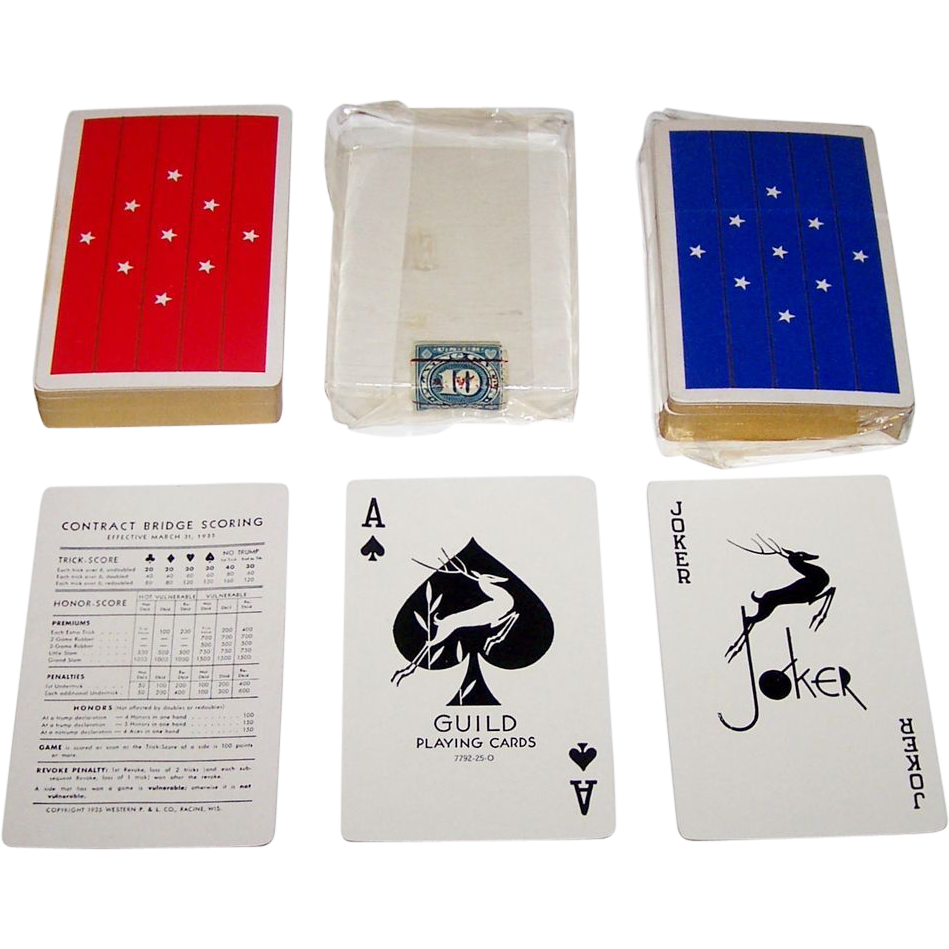 "Twin Decks Western ""Guild"" Playing Cards, c.1935"