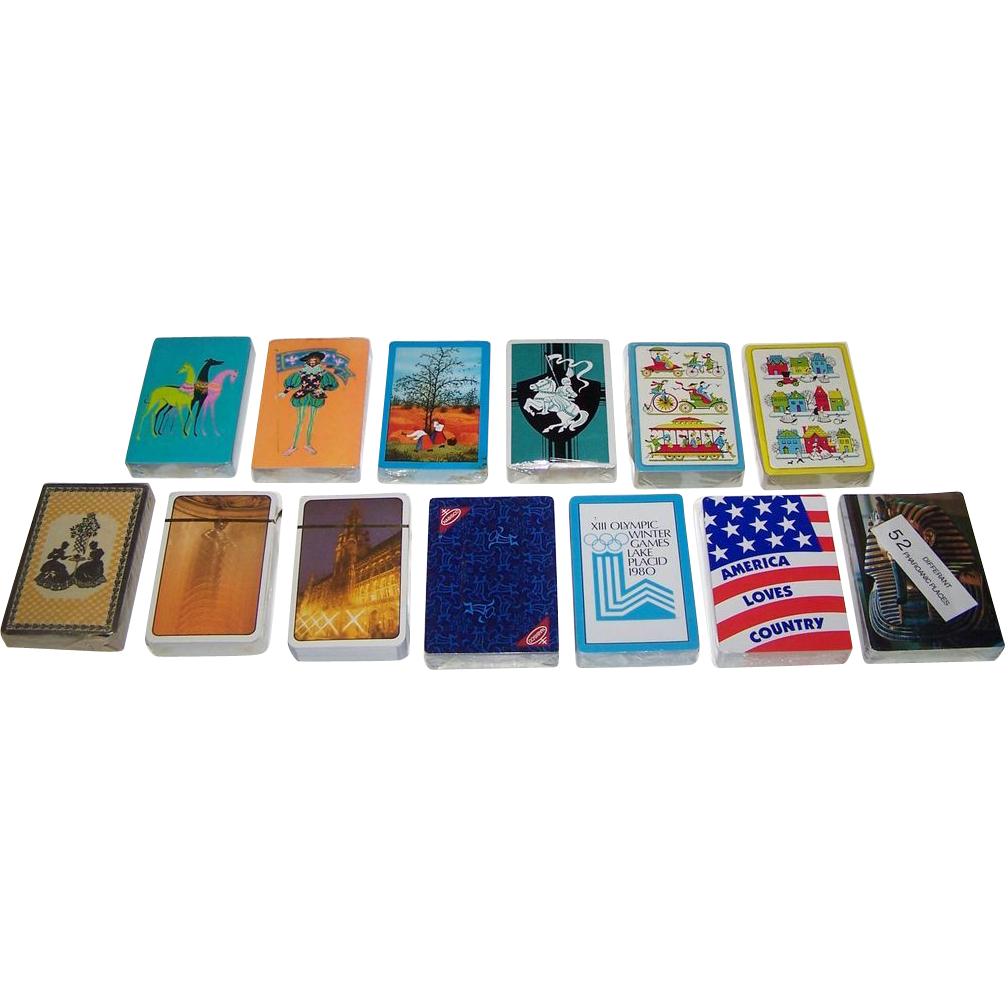 13 Mint, Sealed Decks Various Playing Cards (No Boxes), $5/ea.: (i) 4 Arrco; (ii) 3 Western; (iii) 2 Carta Mundi; (iv) 1 Nabisco; (v) 1 TDC Lake Placid Olympics; (vi) 1 Hoyle Country Music (New Suits); and (vii) 52 Differant [sic] Pharoanic [sic]