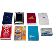 """8 Decks Airline Playing Cards, $5/ea.: (i) Legend Airlines ; (ii) British Airways """"History of Flight""""; (iii) Air Atlanta; (iv) USAir; (v) Northwest Airlines """"Cards that Talk""""; (vi) Singapore Airlines; (vii) Air Canada; and (viii) Air New Zealand"""