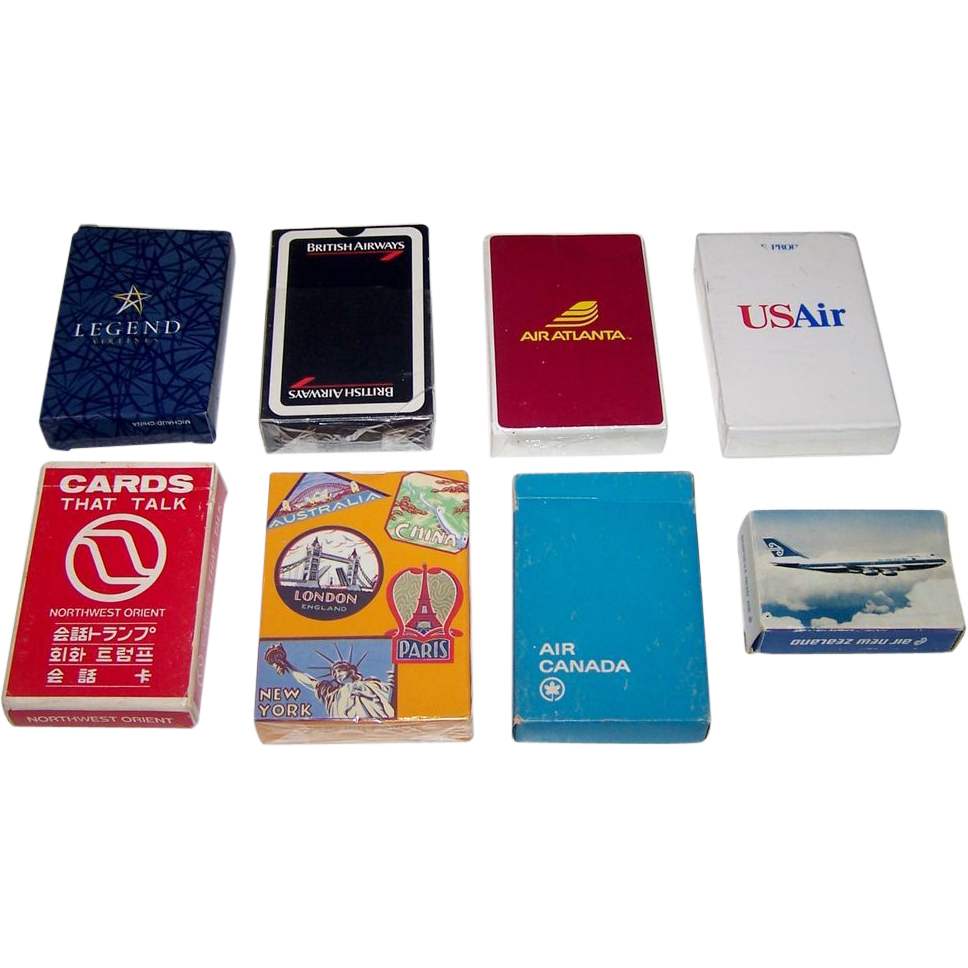 "7 Decks Airline Playing Cards, $5/ea.: (i) Legend Airlines ; (ii) British Airways ""History of Flight""; (iii) Air Atlanta; (iv) USAir; (v) Northwest Airlines ""Cards that Talk""; (vi) Air Canada; and (vii) Air New Zealand"