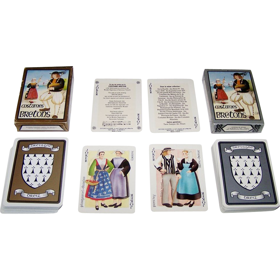 "Twin Decks Editions Dusserre (Boechat Frères) ""Jeu des Costumes Bretons"" Playing Cards, c.1987 ($15/ea. separate)"