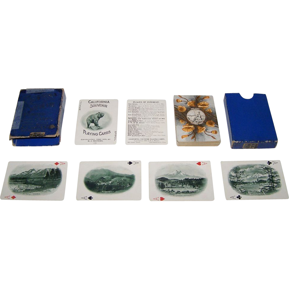 """USPC """"California Souvenir"""" Playing Cards, R.J. Waters Publisher, c.1898-1903"""