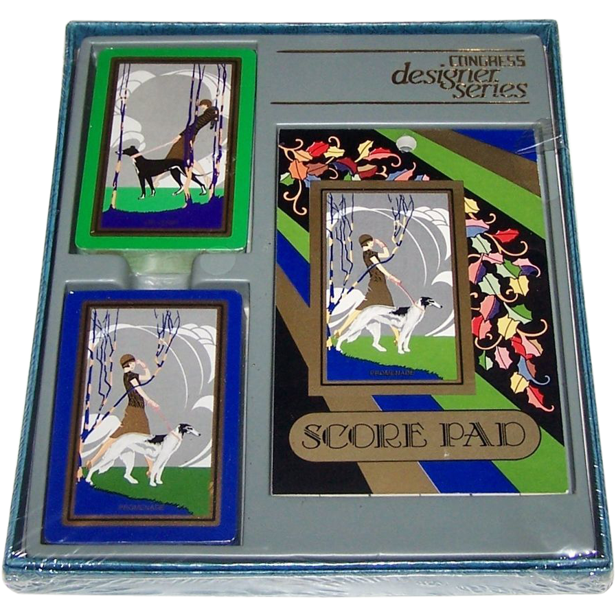 "USPC Congress ""Designer Series"" Bridge Set, Art Deco Backs, c.1980s (?)"