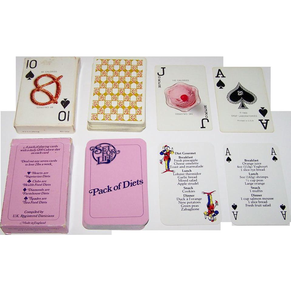 """2 Decks Diet Theme Cards, $15/ea.: (i) Waddington """"Pack of Diets,"""" c.1984; and (ii) Arrco Eska-Deck for Smith, Kline, c.1969"""