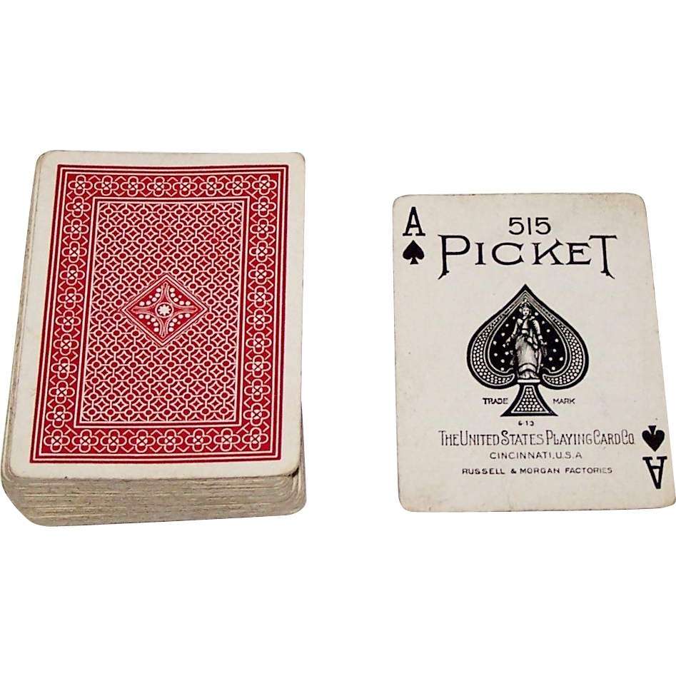 "USPC ""Picket 515"" Pinochle Playing Cards, 64-Card Deck, c.1914"
