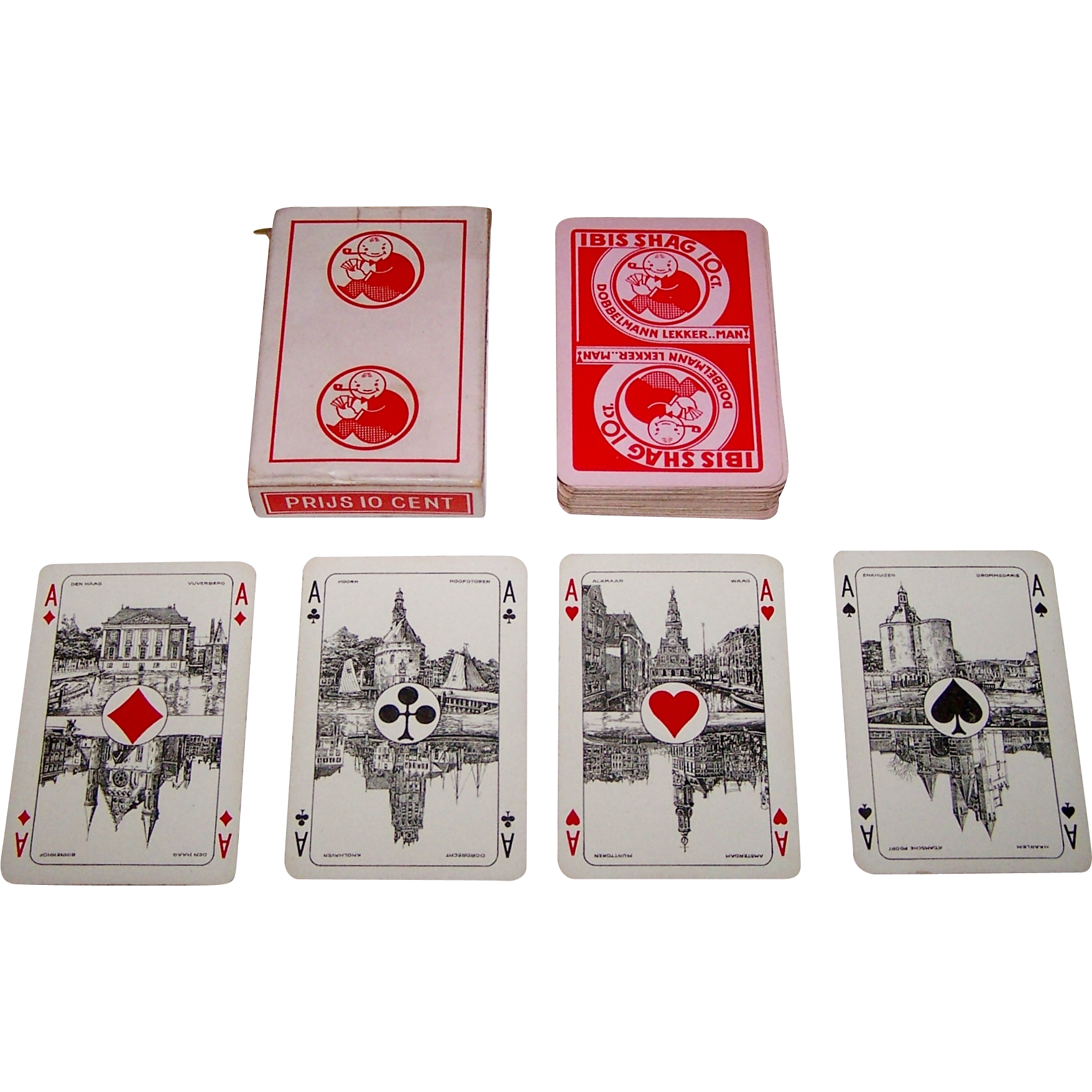 "Ets. Mesmaekers Freres, S.A. ""Dobbelmann"" Playing Cards, Scenic Aces, ""Rhineland Pattern"" Courts, Kees Meys Design (backs), c.1935"