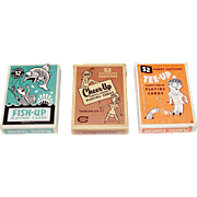 "3 Brown & Bigelow (Creative Playing Card Co.) ""Up"" Decks Playing Cards, $10/ea.: (i) Fish-Up; (ii) Cheer-Up; and (iii) Tee Up, c.1963"