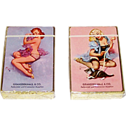 "2 Decks Brown & Bigelow ""Gransden-Hall & Co."" Advertising Pin-Up Playing Cards, Gil Elvgren Designs, c.1940s, $45/ea."