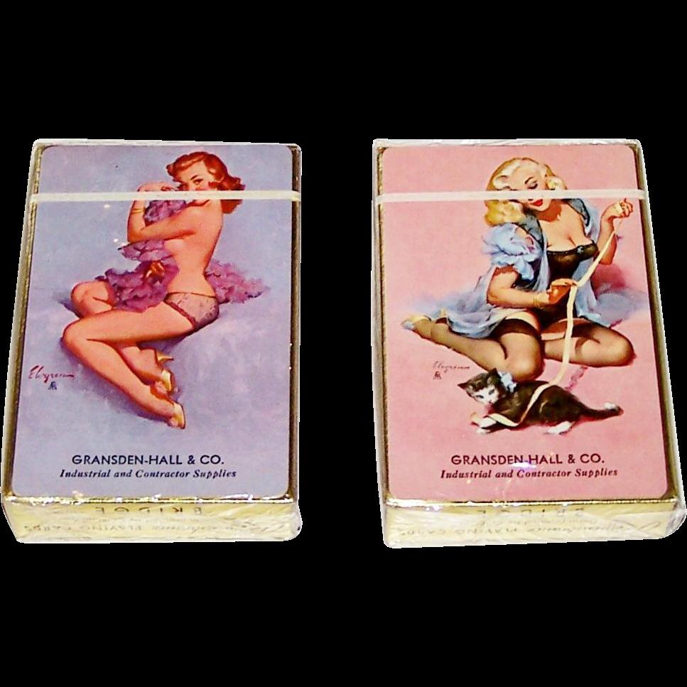 "2 Decks Brown & Bigelow ""Gransden-Hall & Co."" Advertising Pin-Up Playing Cards, Gil Elvgren Designs, c.1940s, $45/ea."