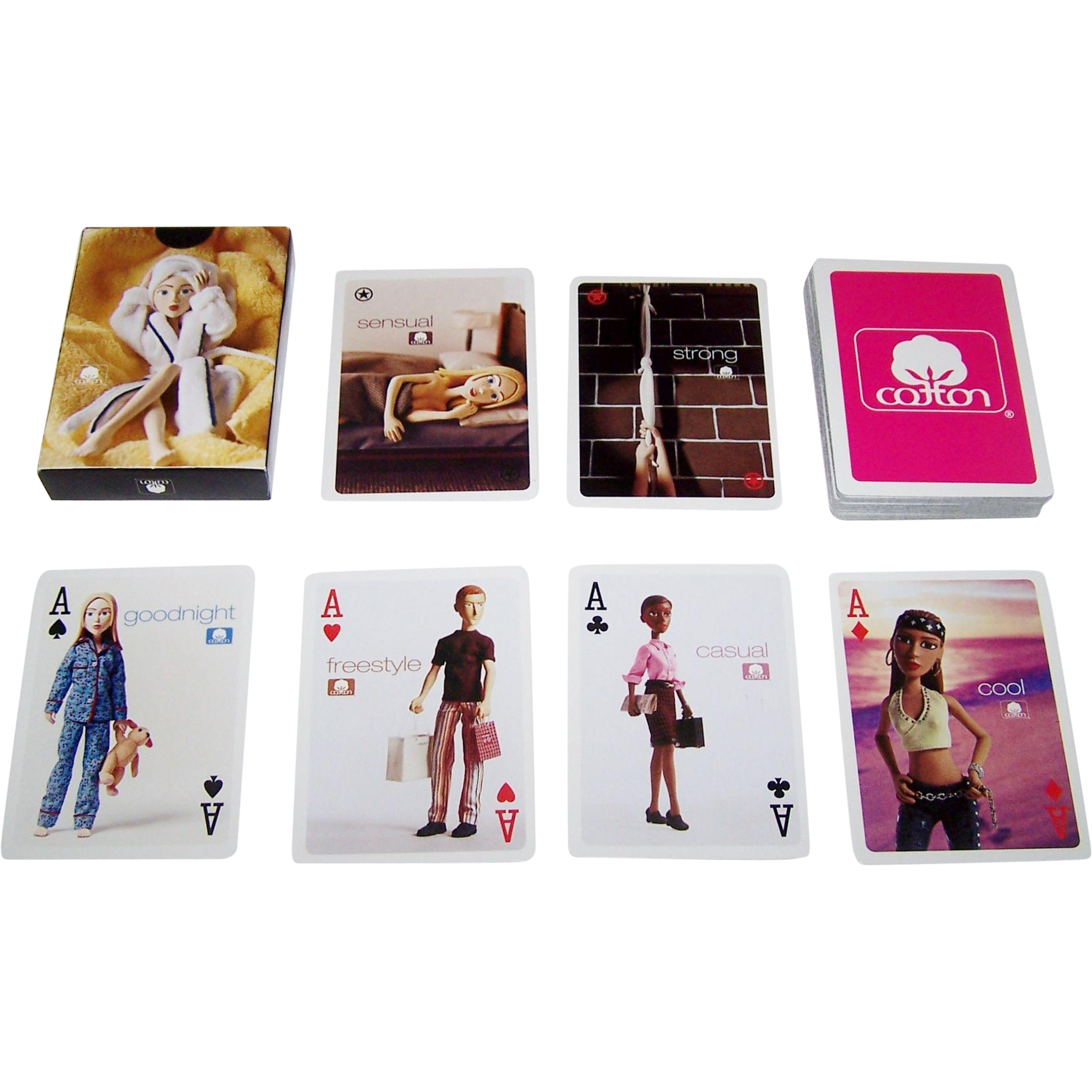"Cotton Incorporated ""Cotton Dolls"" Advertising Playing Cards, Maker Unknown, c.2001"