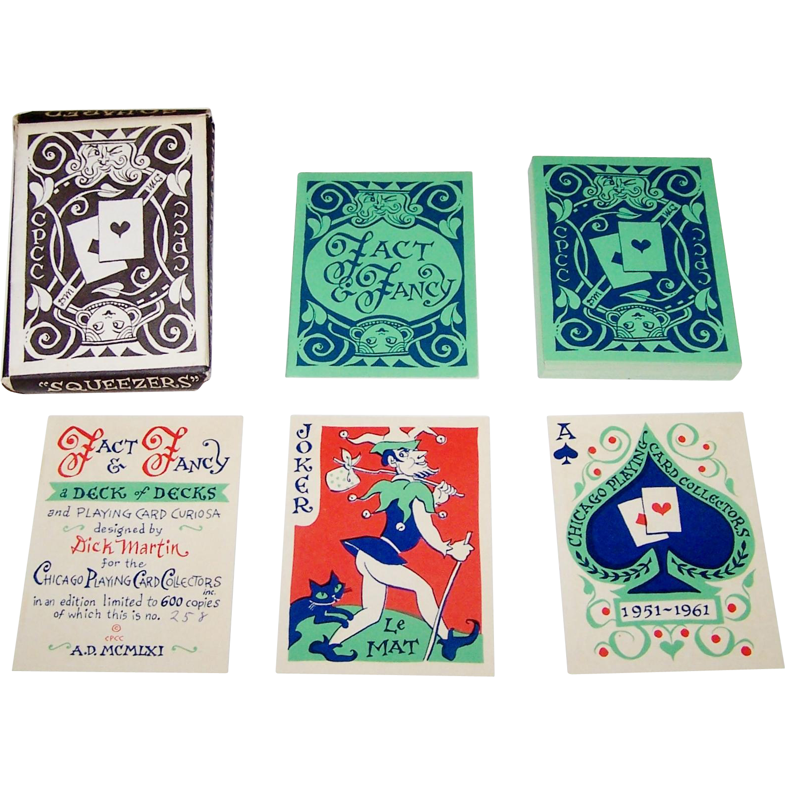 "Chicago Playing Card Collectors ""Fact & Fancy"" Playing Cards, Limited Edition (258/600), Dick Martin Designs, c.1961"