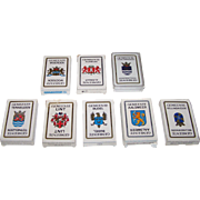 "8 Decks Carta Mundi ""Gemeente"" (""Town"") Playing Cards and Quartet Cards, Defka Publisher, c.1986-1989, $10/ea.: (i) 3 Color: Woerden, Alkmaar, Haarlemmermeer; and (ii) 5 Black and White: Terneuzen, Lint, Bellingwedde, Aalsmeer, Budel"
