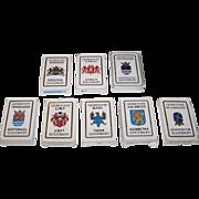 """8 Decks Carta Mundi """"Gemeente"""" (""""Town"""") Playing Cards and Quartet Cards, Defka Publisher, c.1986-1989, $10/ea.: (i) 3 Color: Woerden, Alkmaar, Haarlemmermeer; and (ii) 5 Black and White: Terneuzen, Lint, Bellingwedde, Aalsmeer, Budel"""