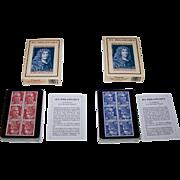 """Twin Decks Grimaud """"Jeu Philatelique"""" Playing Cards, Jacques Hiver Designs, c.1990, $25/ea."""