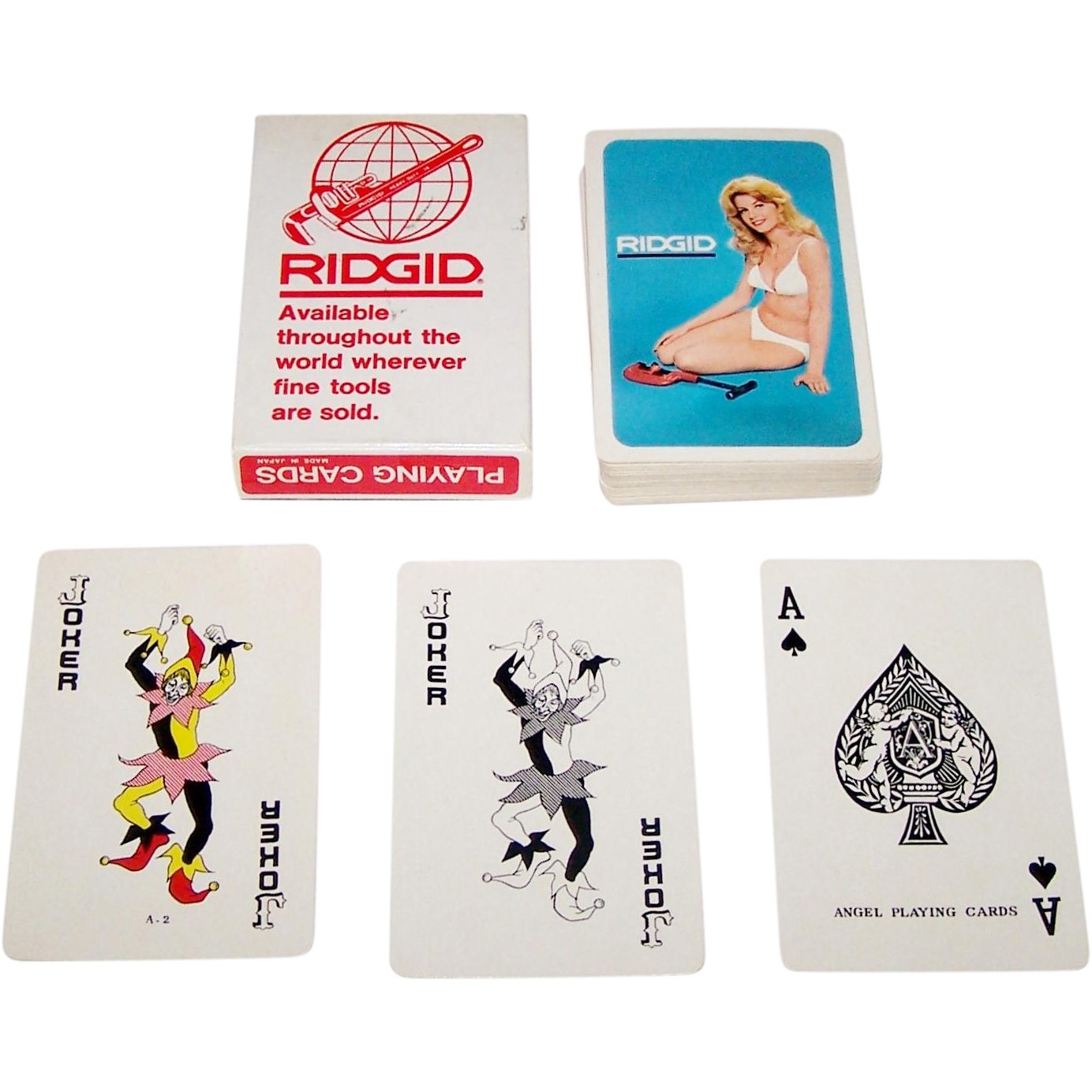 "Angel ""Ridgid"" Pin-Up Playing Cards, Ridge Tool Company, c.1975-1980"