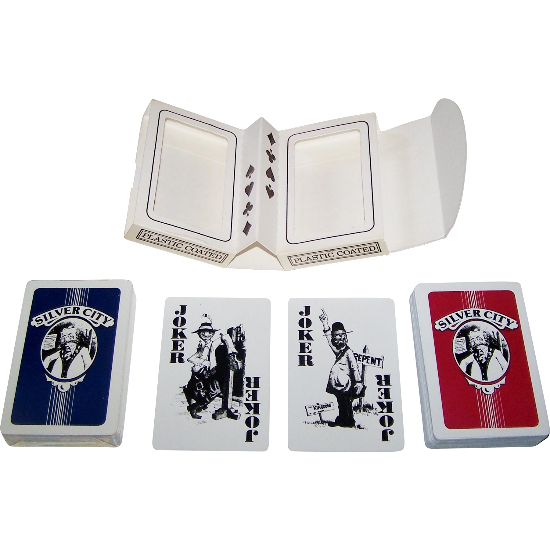 "Double Deck Mystic Games, Inc. ""Silver City"" Playing Cards, Maker Unknown, Cartoonist Unknown, c.1982"