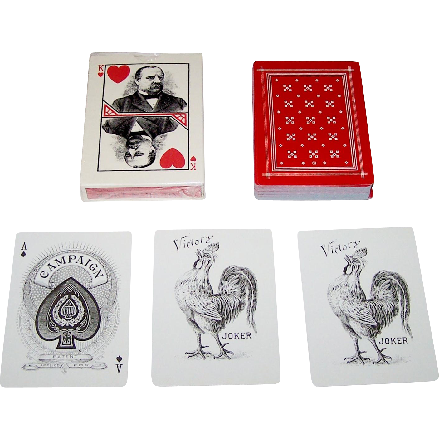 "TDC (Hoyle) ""Campaign Deck"" Playing Cards, Reprint 1892 ""Cleveland Campaign"" Deck, USGS Publisher, c.1980"