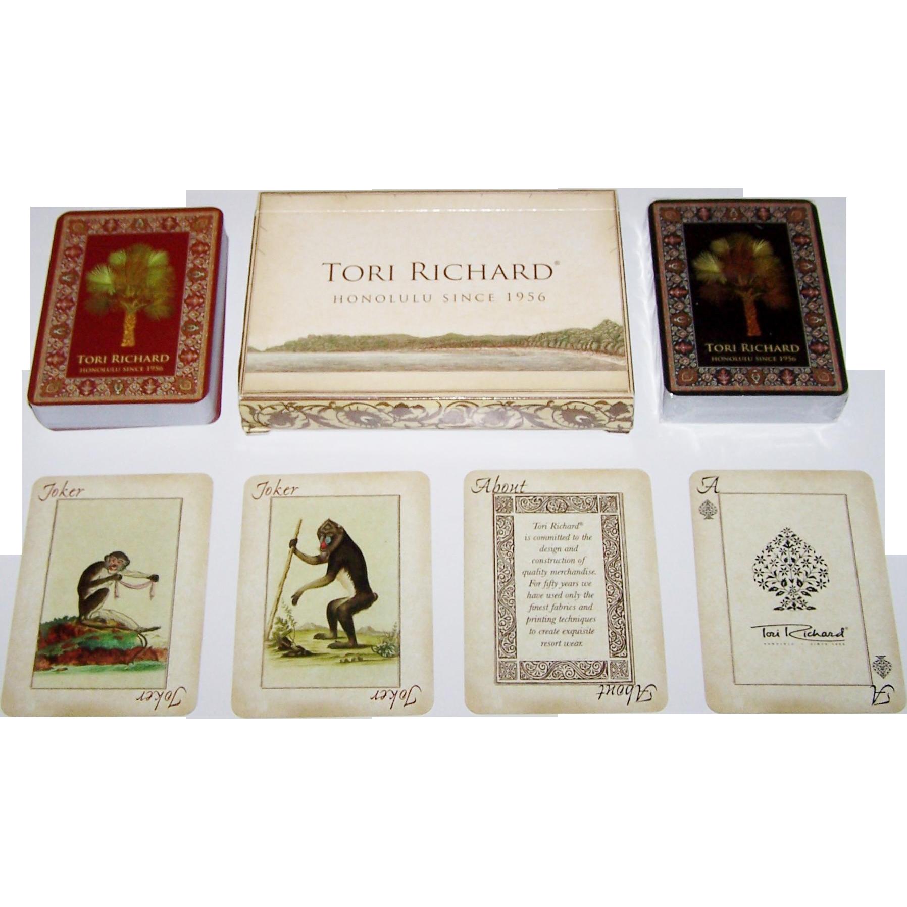 """Double Deck """"Tori Richard"""" Playing Cards, Cristina Rosa Designs/Conception, Unique Suit Symbols, Maker Unknown"""