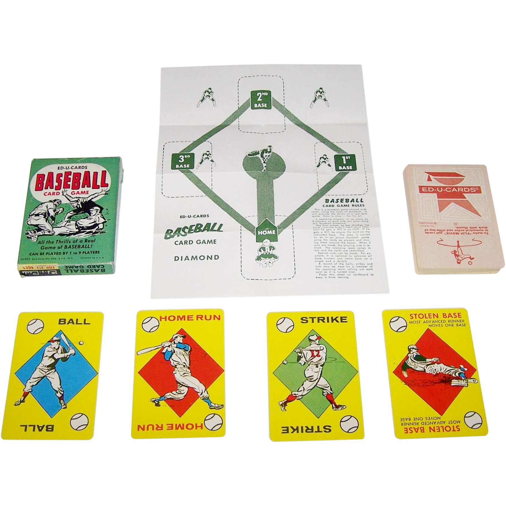 """Ed-U-Cards """"Baseball Card Game,"""" c.1957"""