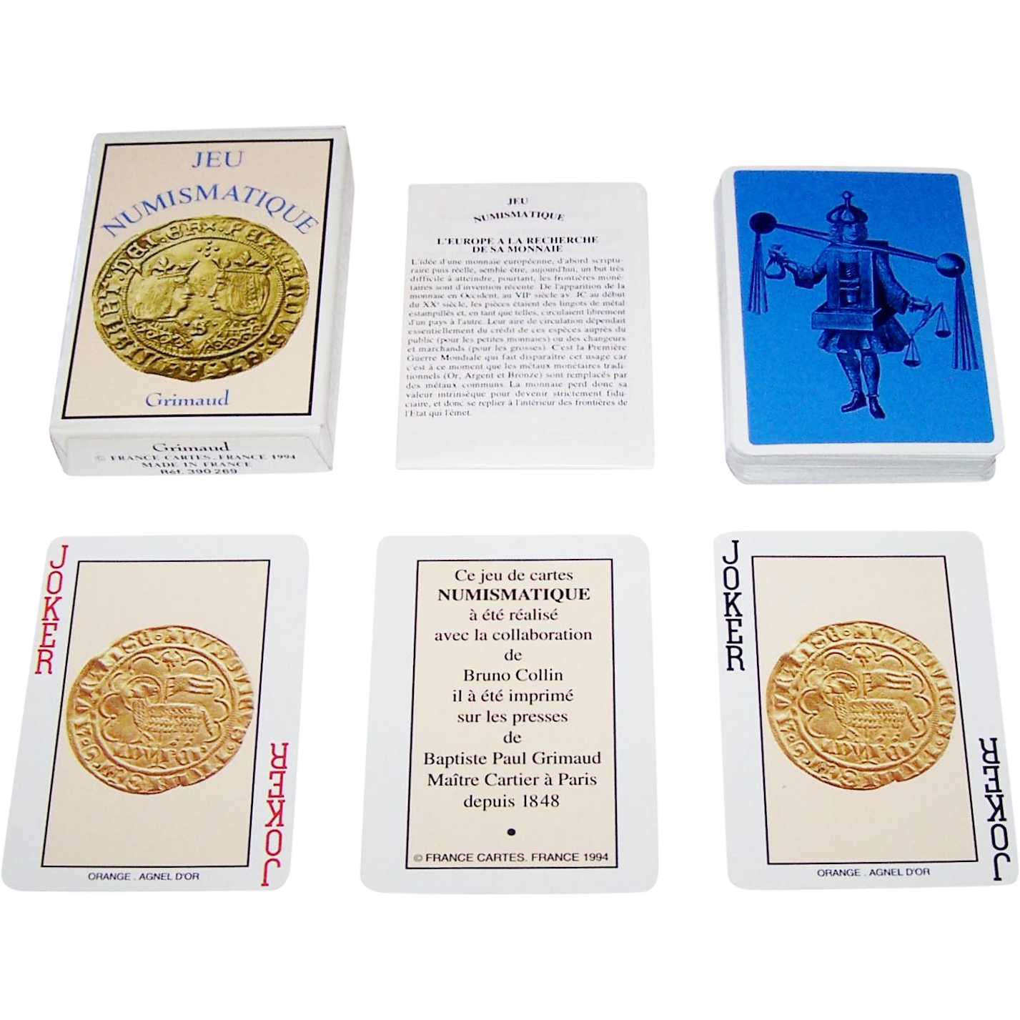"Grimaud ""Jeu Numismatique"" Playing Cards, Bruno Collin Collaborator, c.1994"