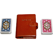 """Double Deck Piatnik """"Patience"""" Playing Cards, Leather (or Faux Leather) Case, c.1970"""