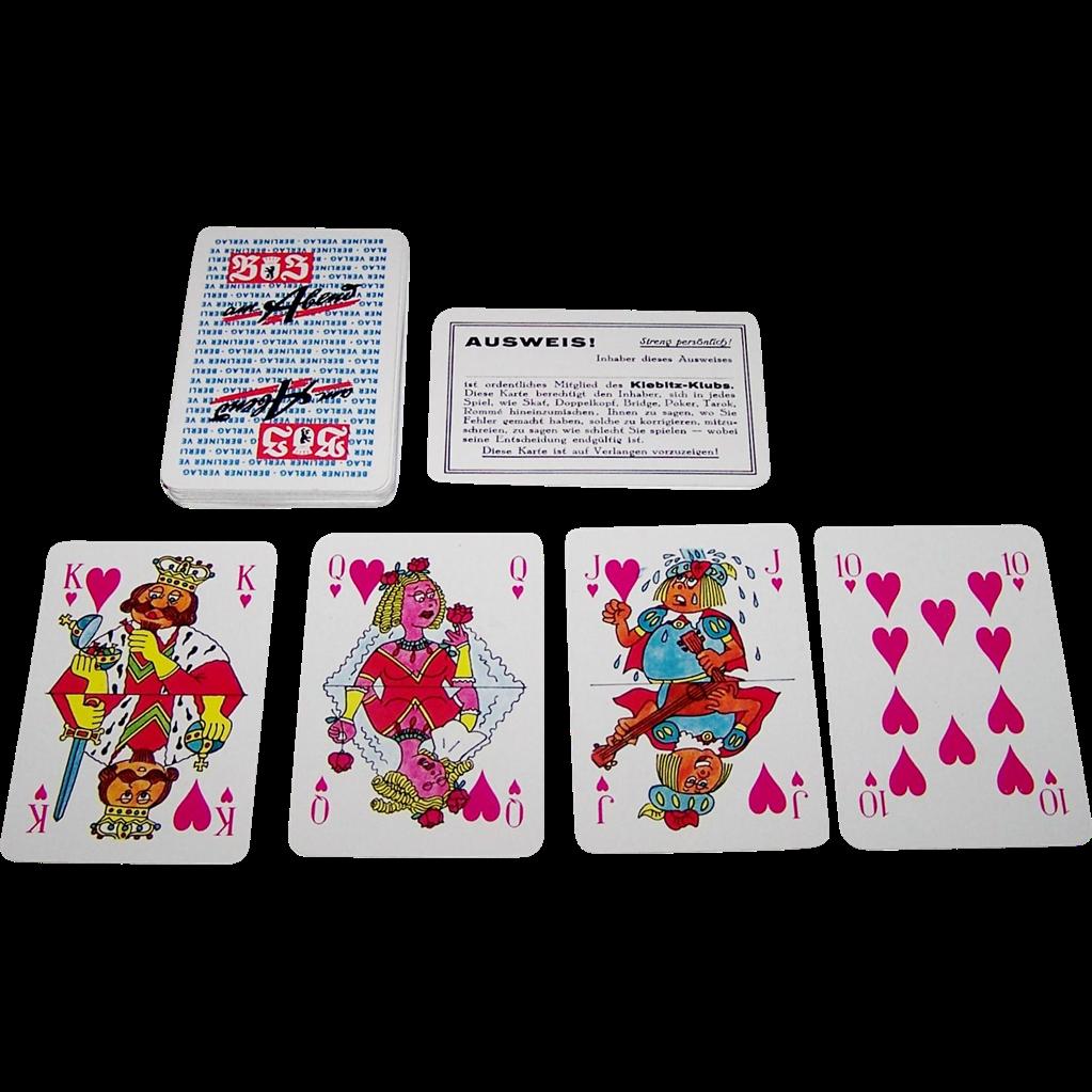 """Coeur """"Der Abend"""" Skat Playing Cards, Erich Schmitt Designs, c.1967"""
