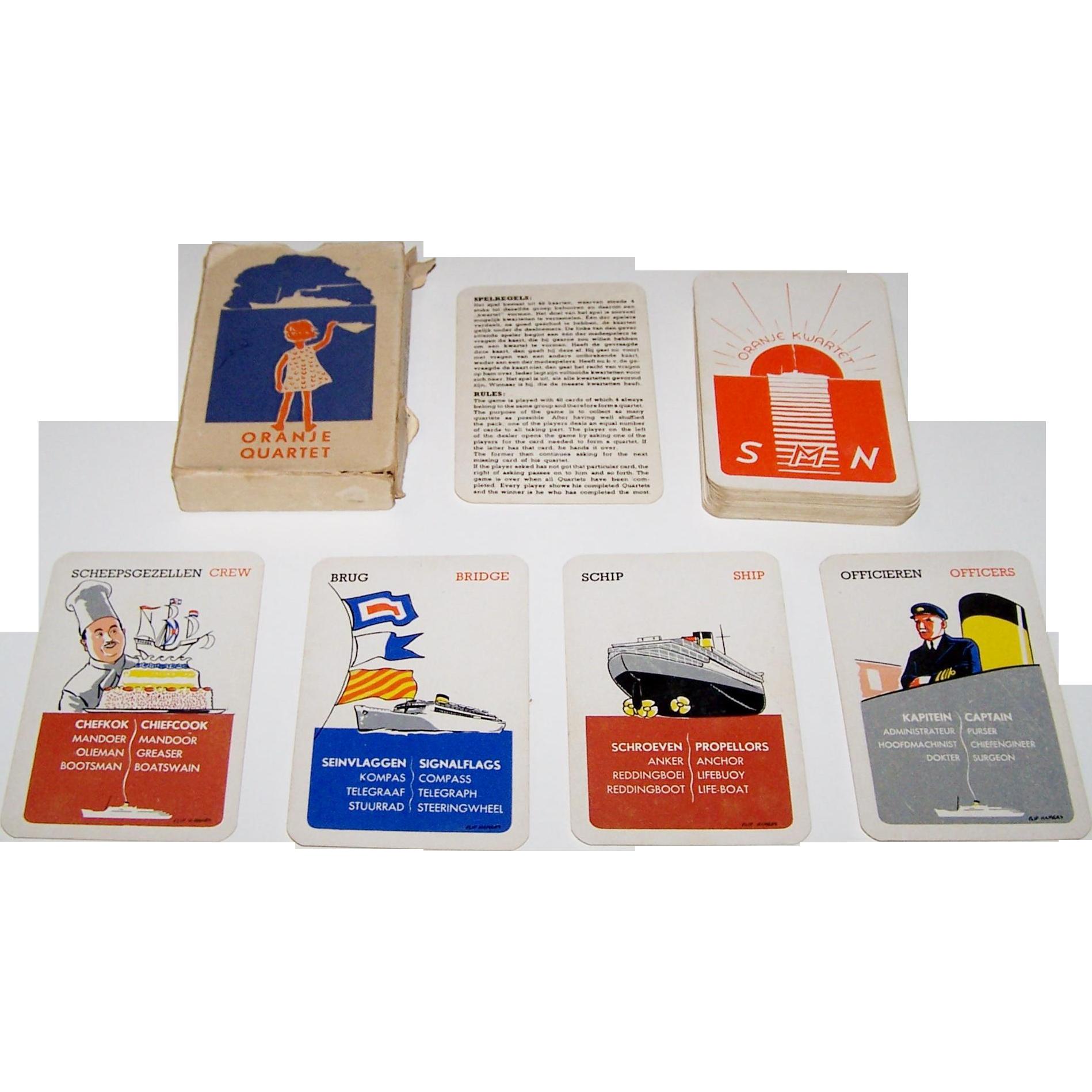 "Speelkaartenfabriek Nederland ""Oranje"" Quartet Card Game, Stoomvaart Maartschappij Nederland (""Nederland Line"") Publisher, Flip Hamers Designs, c.1939"
