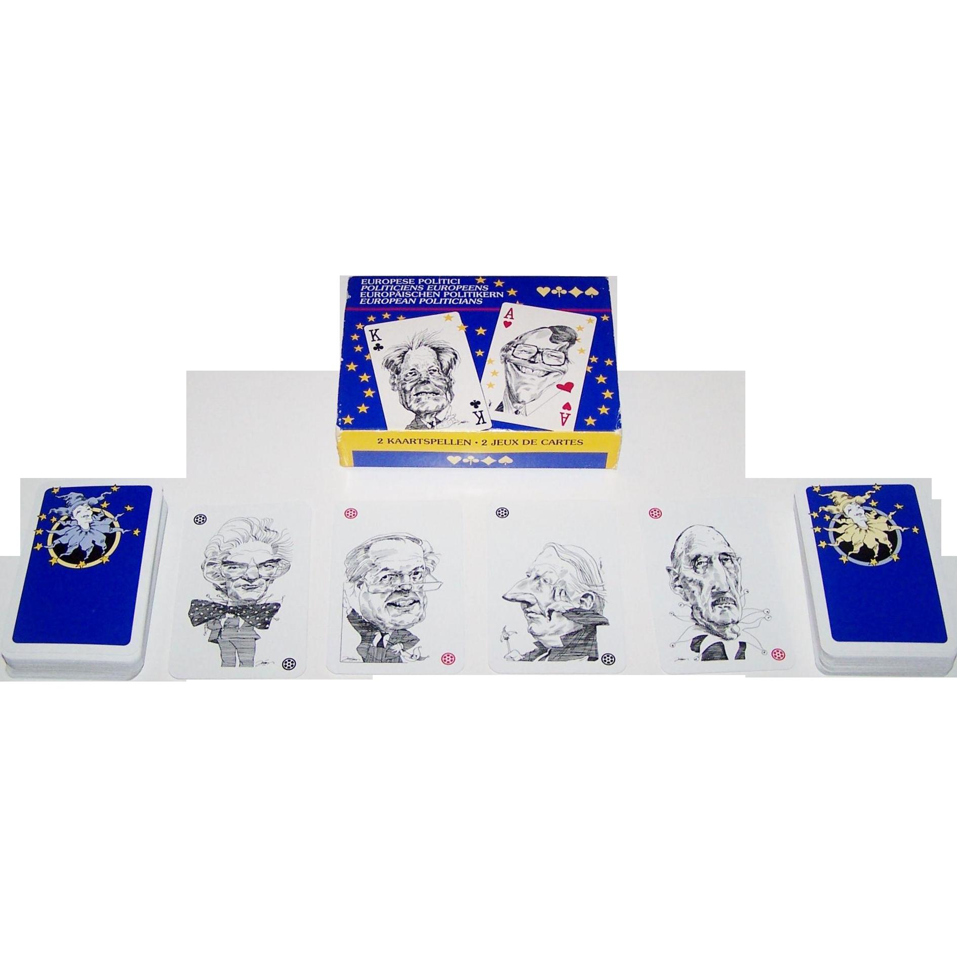 "Double Deck Carta Mundi ""European Politicians"" Playing Cards, Nationaal Museum van de Speelkaart (Turnhout), Junius Designs, c.1991"