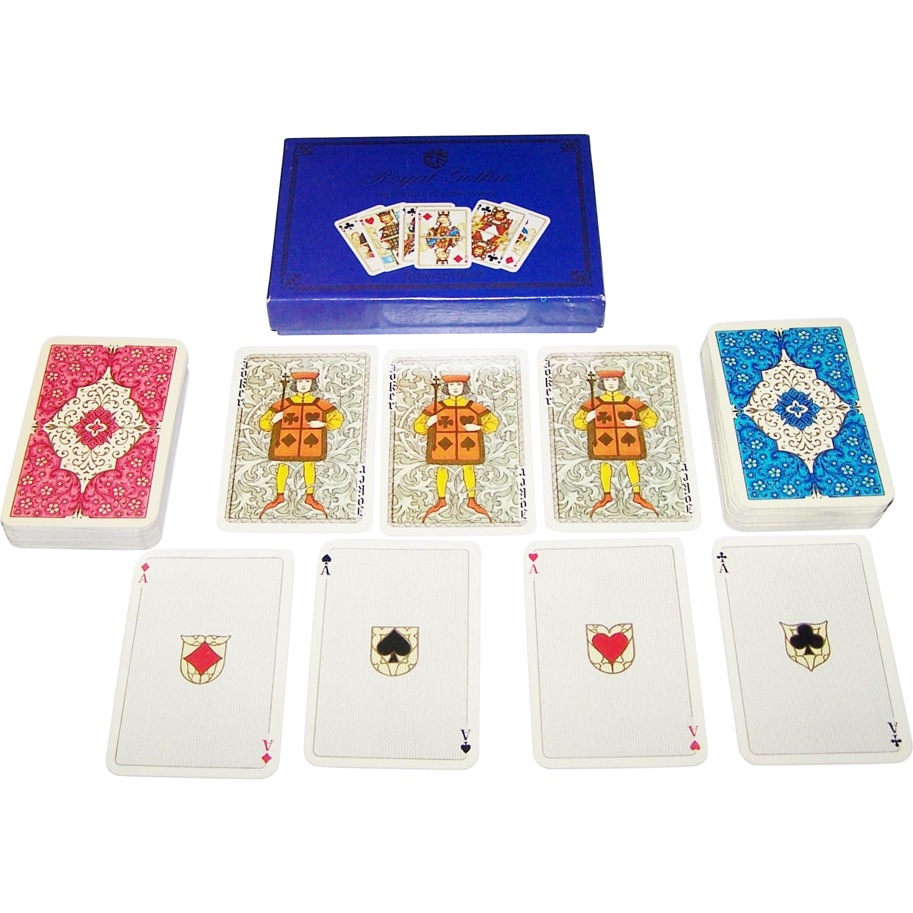 "Double Deck ASS ""Royal Gothic"" Playing Cards, Dondorf Centennial, c.1975"