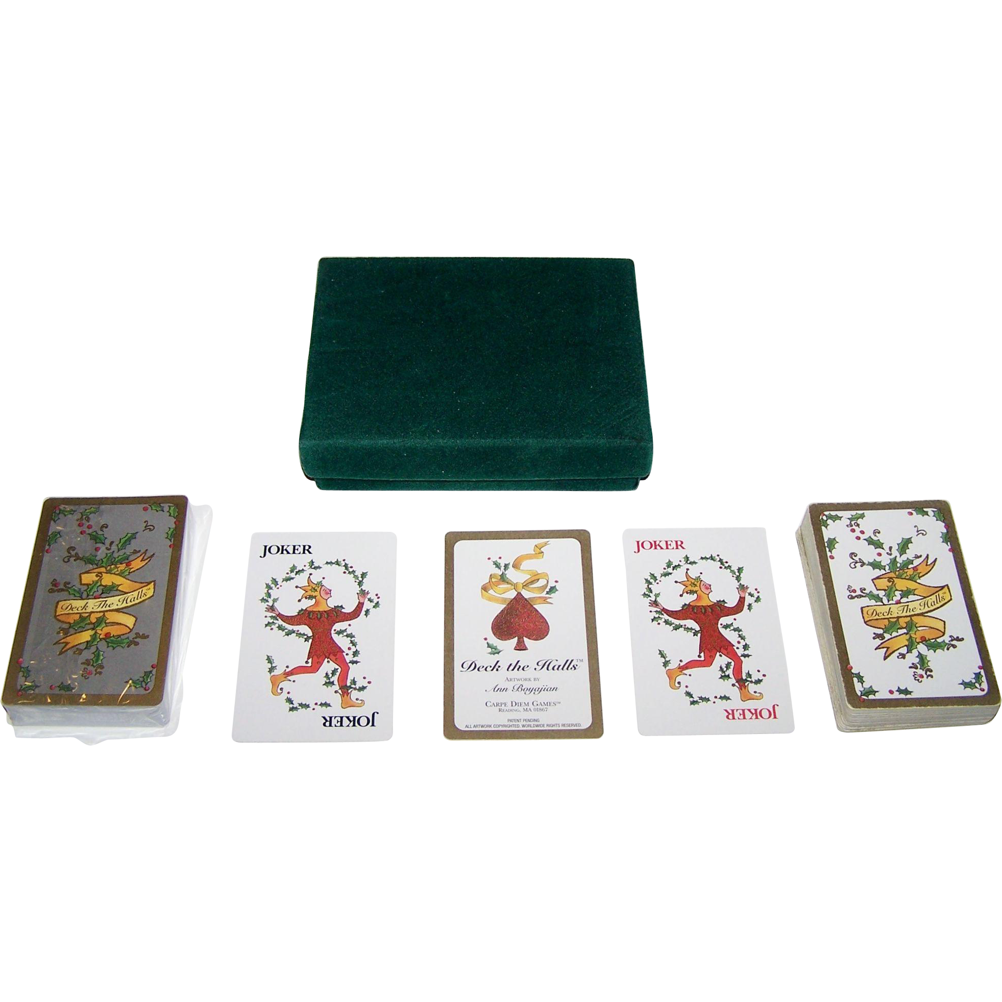 "Carpe Diem Games ""Deck the Halls"" Playing Cards, Maker Unknown, Ann Boyajian Designs"
