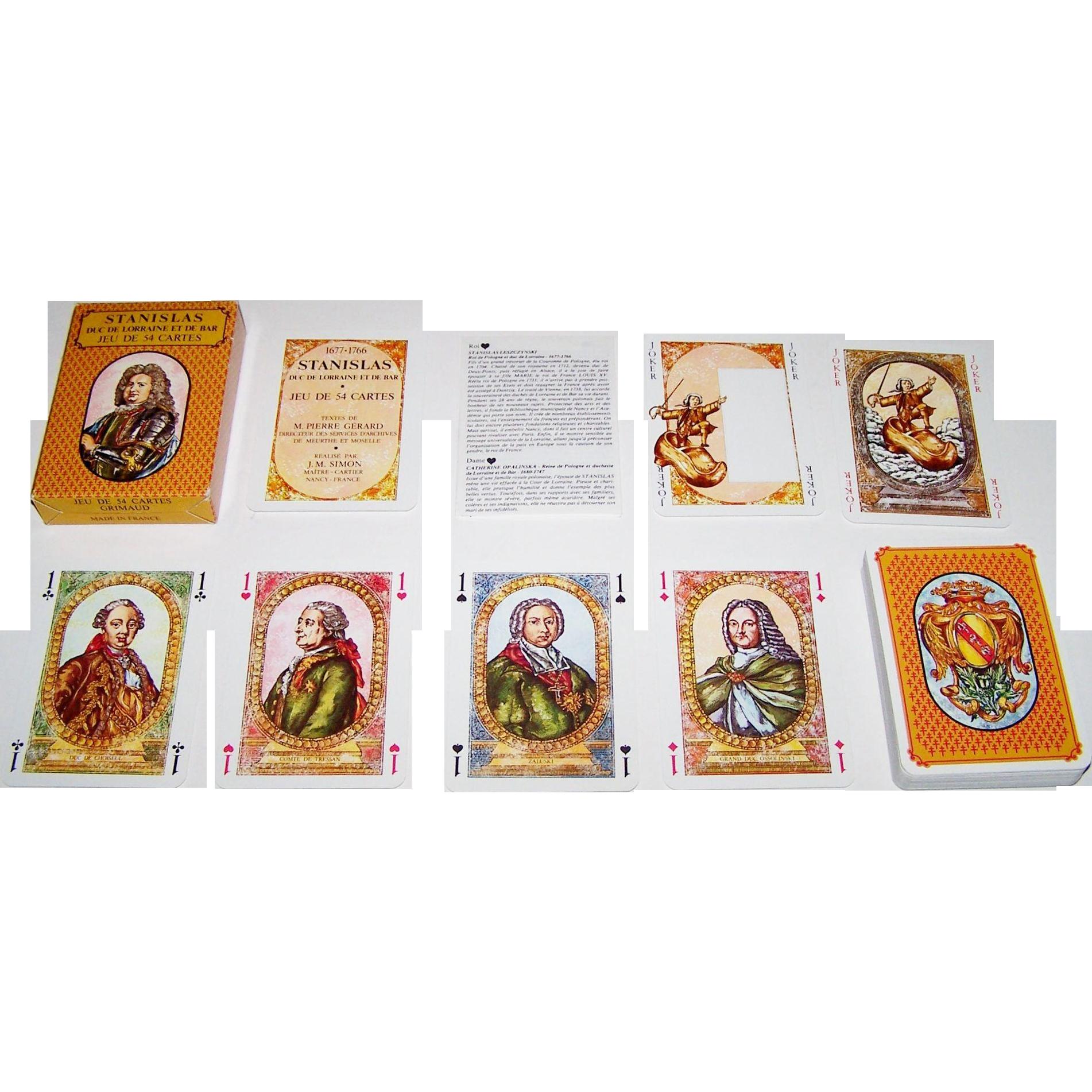 """Grimaud """"Stanislas: Duc de Lorraine et de Bar"""" Playing Cards, M.C. Schira Designs, c.1978"""