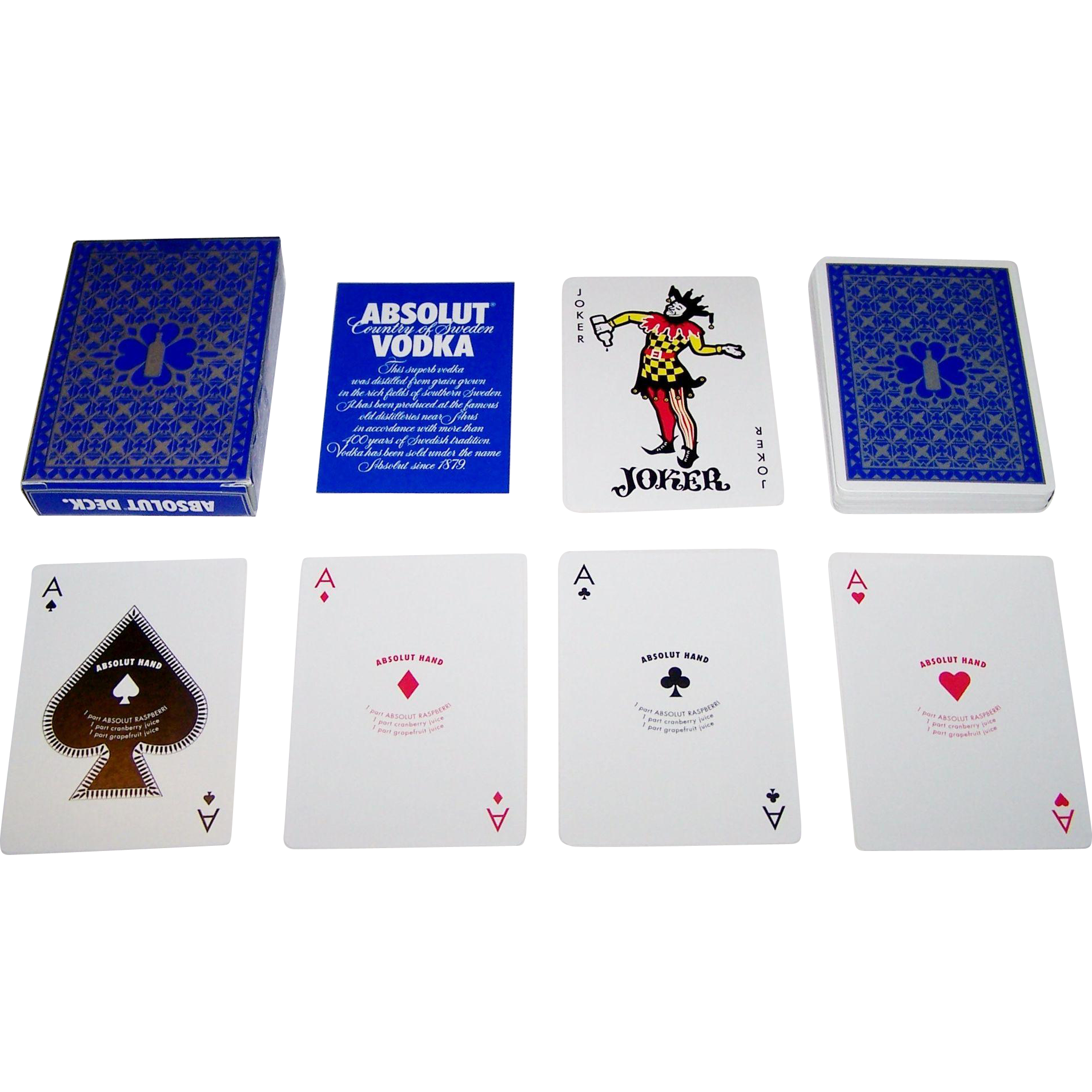 """Absolut Deck"" Playing Cards, Absolut Vodka, Maker Unknown, Non-Standard Courts, Drink Recipes (Aces and Pips)"