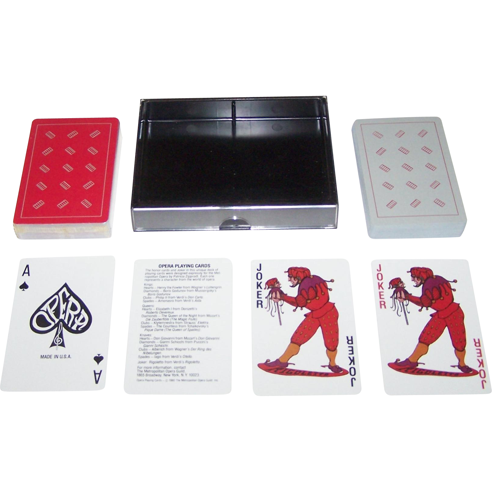 "Double Deck Metropolitan Opera Guild ""Opera"" Playing Cards, Maker Unknown, Patricia Zipprodt Designs, c.1980"