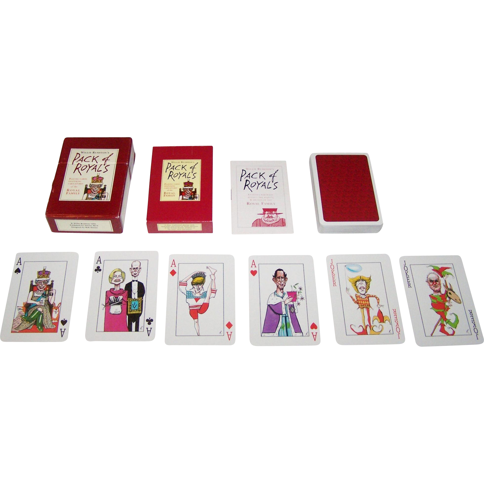 "Piatnik ""Pack of Royals"" Playing Cards, Antony Bird Publisher, Willie Rushton Designs, c.1995"