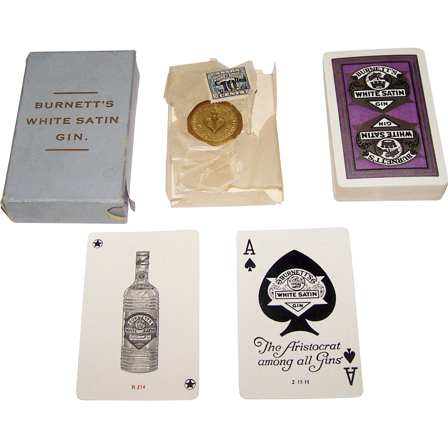 "USPC (Canada) ""Burnett's White Satin Gin"" Playing Cards, c. 1915-1918"
