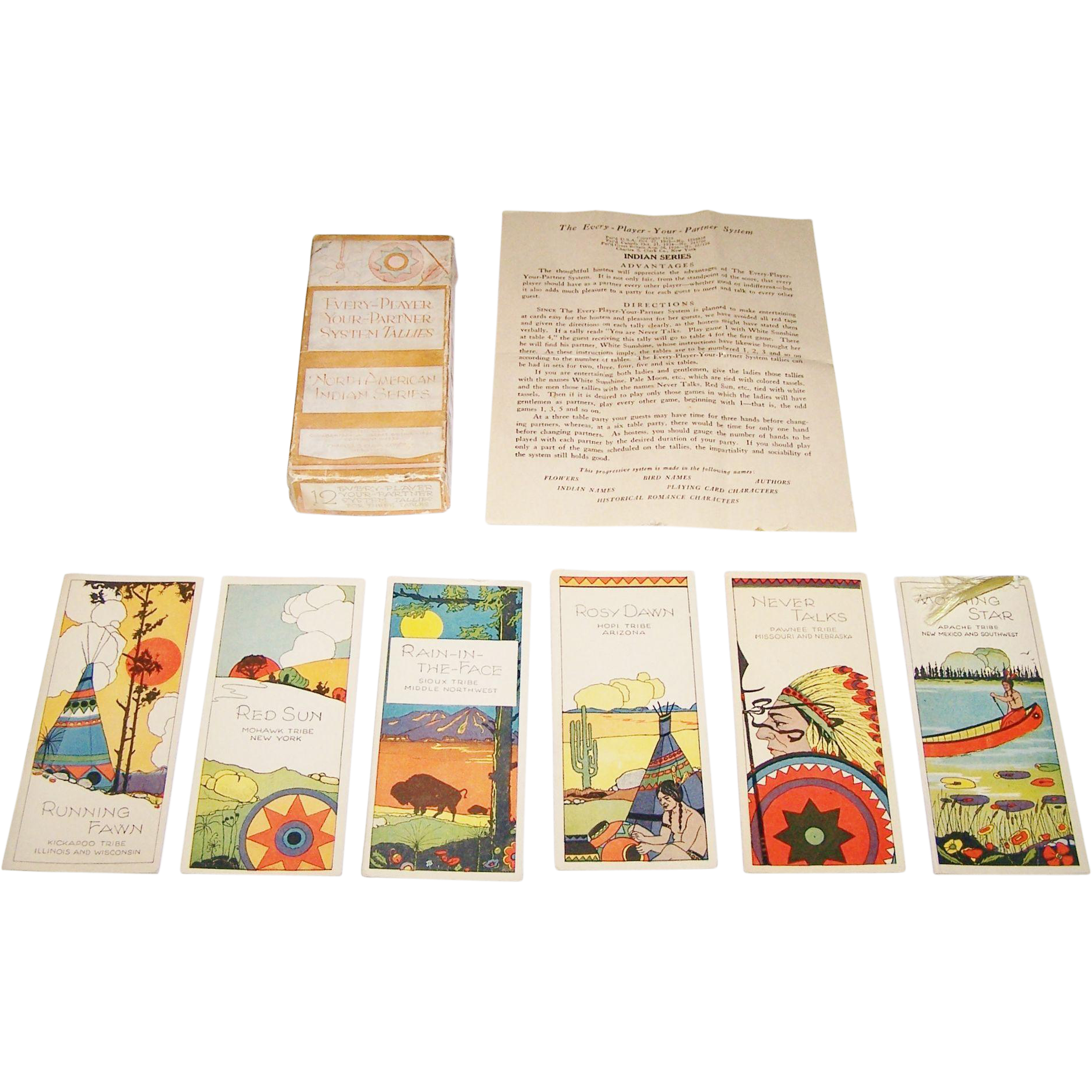 "Chas. S. Clark ""Every Player Your Partner"" Three Table Auction Bridge Tallies (12/12), ""North American Indian Series,"" c.1925"
