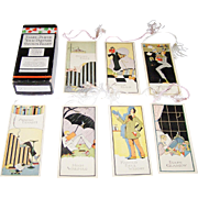 "Chas. S. Clark ""Every Player Your Partner"" Five Table Auction Bridge Tallies (19/20), ""Modern Author Series,"" Art Deco Designs, c.1925"