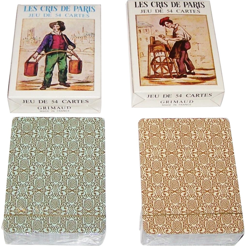"""Twin Decks"" Grimaud ""Les Cris de Paris"" Playing Cards, Different Faces, c.1969"