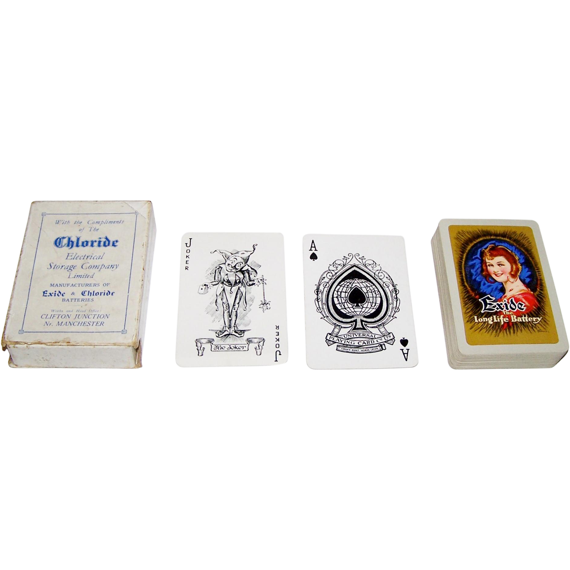 "Universal ""Exide Long Life Battery"" Playing Cards, Chloride Electrical Storage Company Ltd., William Barribal Designs, c.1937"