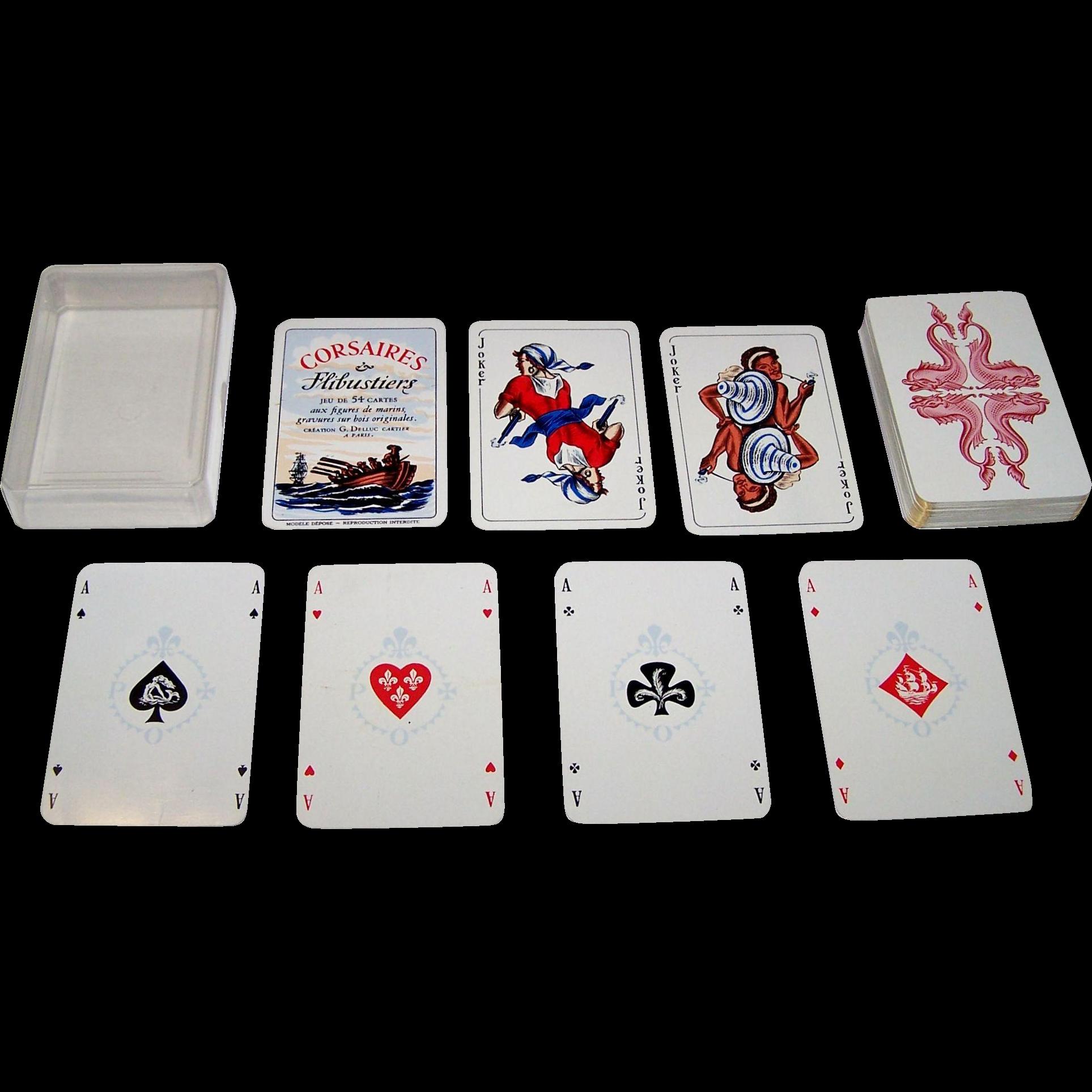 """G. Delluc """"Corsaires et Flibustiers"""" Playing Cards, G. Delluc Designs, Philibert Publ. (?), c.1958"""